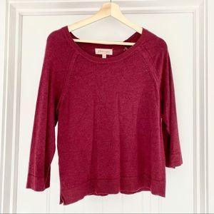 Philosophy 3/4 Sleeve Sweater Heathered Wine Wms L